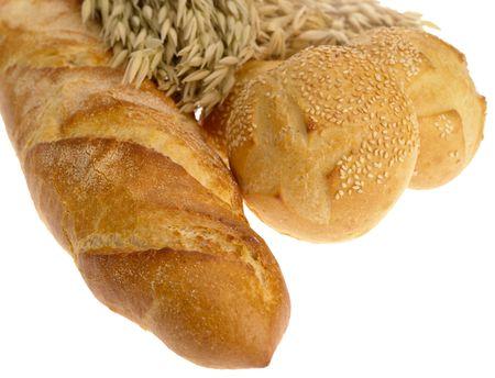Delicious bread on white background Фото со стока