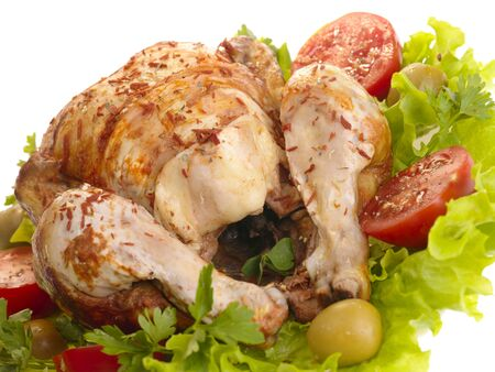 grilled chicken whole with vegetables on salad leafs Stock Photo - 4891316