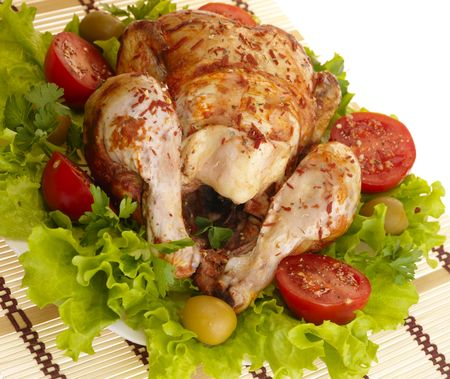 grilled chicken whole with vegetables on salad leafs Stock Photo - 4891315