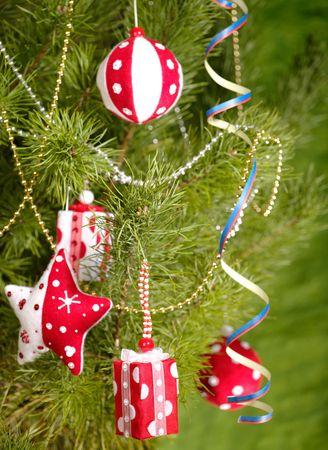 Xmas still-life with fir tree and toys photo