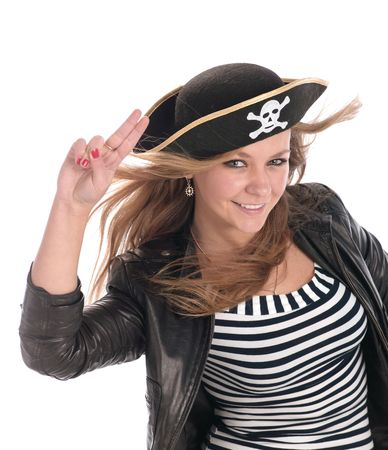 female pirate: Young teen girl posing on white. Is not isolated