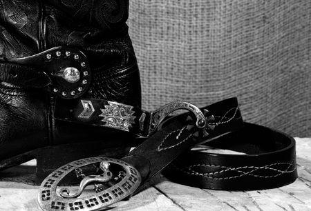 Western cowboy still life on the desk photo