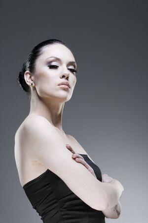 Adult pretty woman stylish portrait. Skin texture saved Stock Photo - 6605421