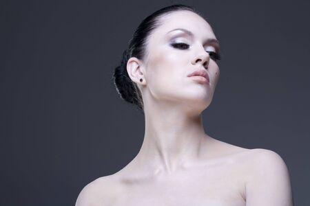 Adult pretty woman stylish portrait. Skin texture saved photo