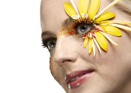 Young pretty woman art portrait. Summer sttylish make up concept photo