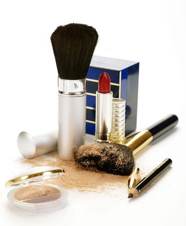 stilllife: perfumery and makeup still-life over white Stock Photo