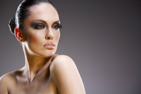 Pretty young woman studio stylish portrait photo