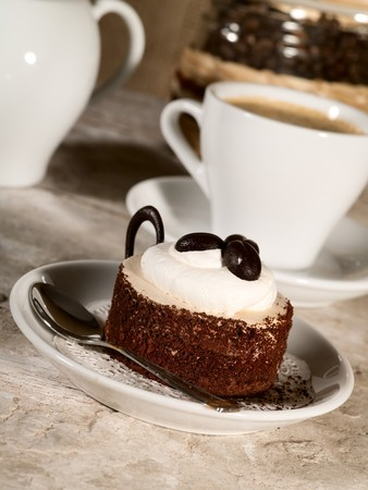 pastry on the plate with cup of espresso Stock Photo - 7408956
