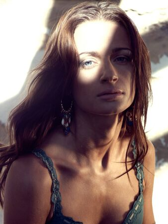 Beauty country girl portrain in soft sunlight photo