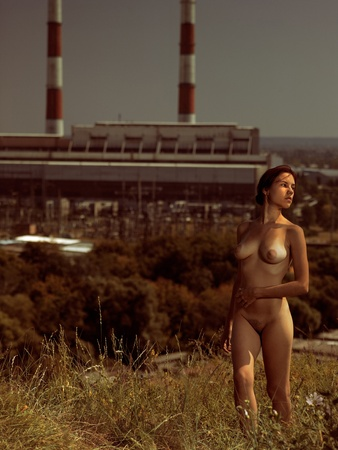 loneliness in the city. urban scene with naked girl Stock Photo - 10697962