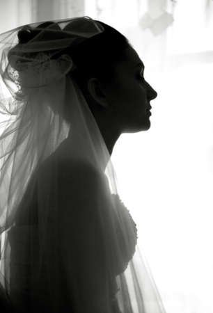 few minutes before wedding. female black and white portrait photo