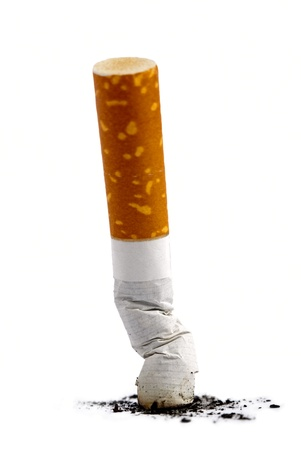 Cigarette butt with ash over white background photo