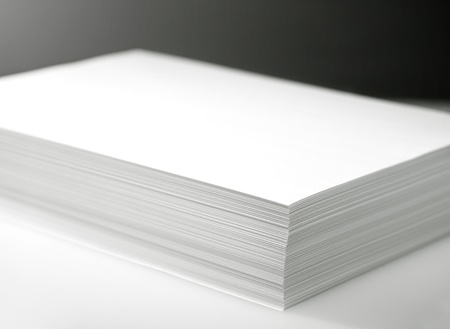 Stack of white printer and copier paper