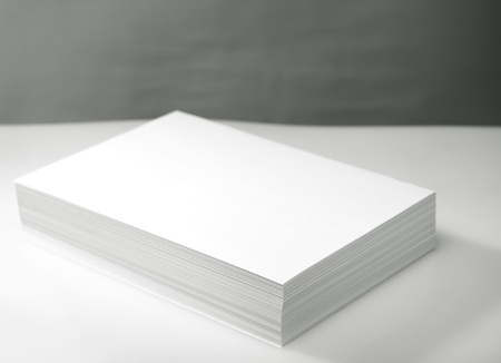 stack of paper: Stack of white printer and copier paper