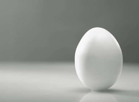 ovoid: Simple as    White egg over desk with reflection and shadow Stock Photo