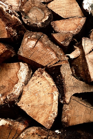 firewood in stack as abstract backgrounds photo