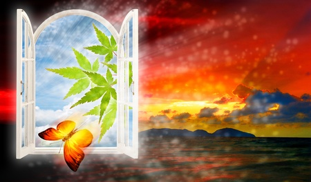another: Another world window, abstract backgrounds Stock Photo