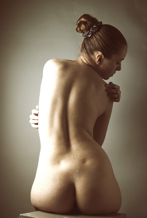 Adult pretty woman naked portrait Stock Photo