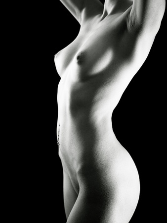 fine art nude: Belly Button Peircing. Adult pretty woman naked portrait