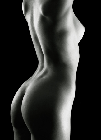 naked woman back: Fine art adult pretty woman naked portrait Stock Photo