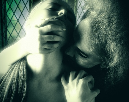 Vampire Kiss, female portrait, film grain added to achieve art effect photo