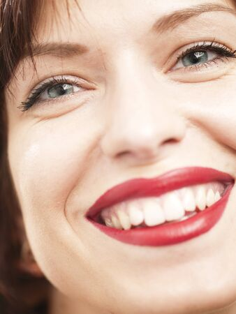 Red lipstick  Beauty white woman portrait photo