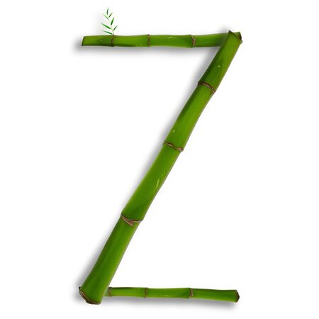 One capital letter of bamboo alphabet with shadow over white Stock Photo - 13242282
