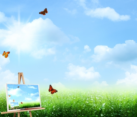 horison: abstract art backgrounds under the blue skies Stock Photo