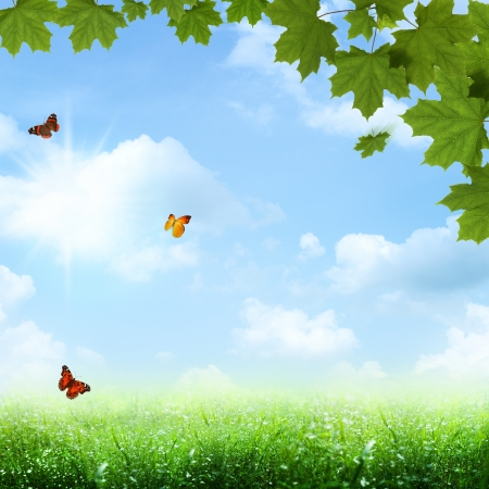 horison: Under the blue skies. Abstract spring and summer backgrounds