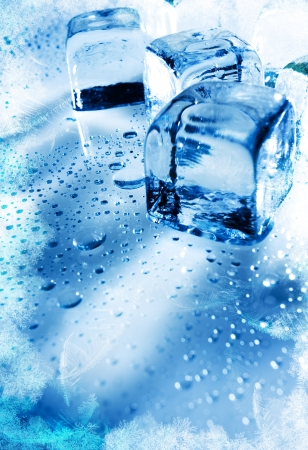 Ice cubes over wet backgrounds with frozen texture Stock Photo - 13762527