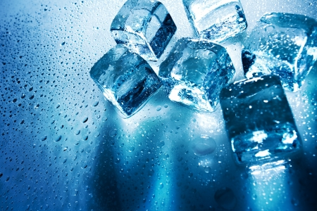 cold storage: Ice cubes over wet backgrounds with back light
