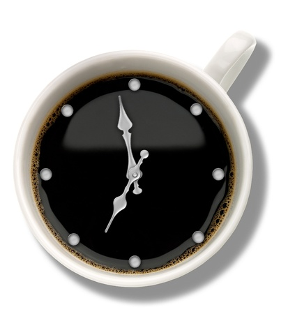 oclock: Coffee watch. Abstract food and drink backgrounds