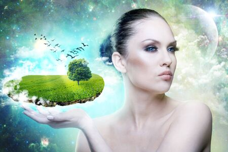 World of Magic  Female portrait with abstract world in hand Stock Photo - 14008492