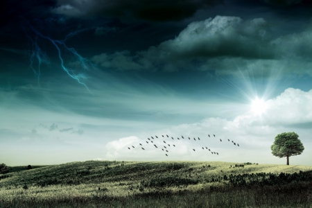 force of nature: Last sunbeam before the hurricane. abstract natural backgrounds Stock Photo