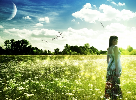 Summer time on the meadow. Abstract female portrait photo