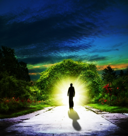 garden of eden: Walking to Eden  Abstract spiritual backgrounds Stock Photo