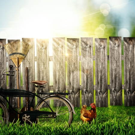 garden fence: Back to the village  Abstract rural backgrounds
