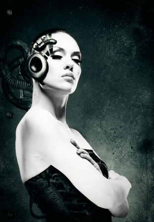 Mechanical woman  Abstract female portrait Stock Photo