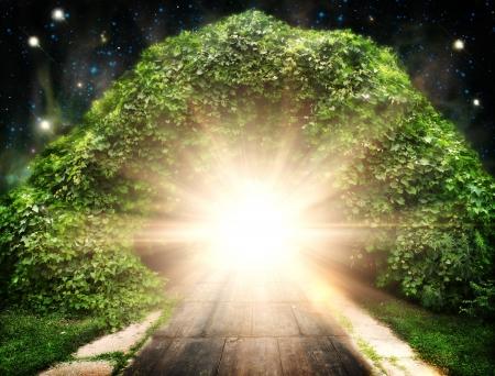 büyülü: Başka bir dünyaya yol soyut doğal arka