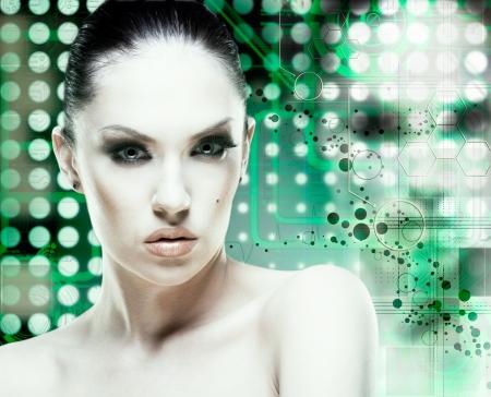 Adult pretty woman stylish portrait. Skin texture saved Stock Photo - 14446427