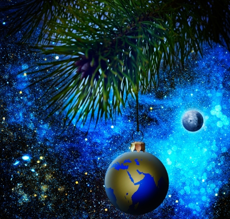 christmas sphere: Christmas decoration ball on the firtree.