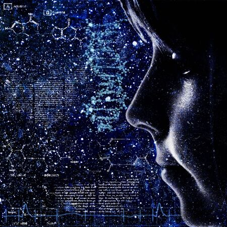 adn humano: Evolución. Resumen backrounds ciencia con retrato femenino