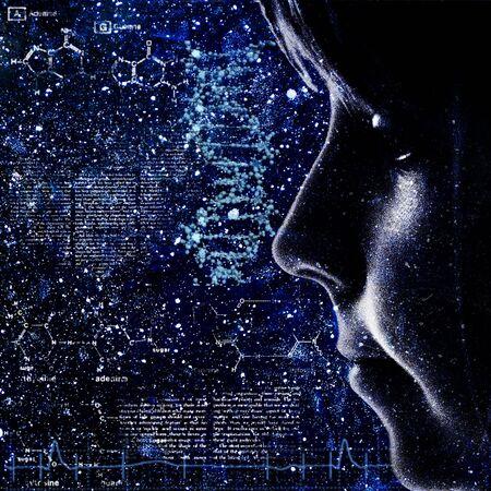 evolucion: Evolución. Resumen backrounds ciencia con retrato femenino