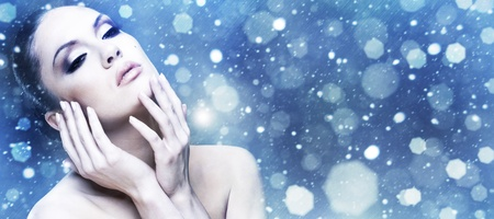 Winter Beauty. Female abstract stylish portrait.  photo