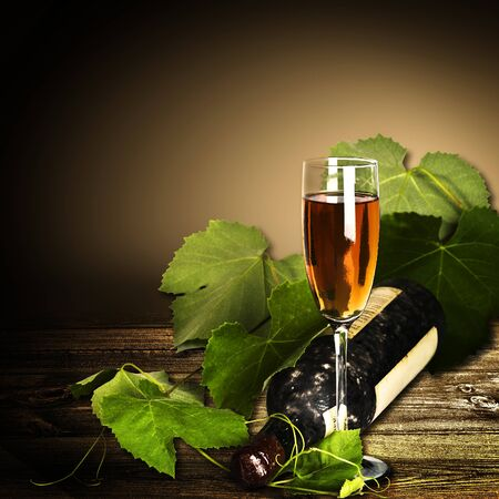 sallow: Abstract wine-making backgrounds with wine and bottle Stock Photo