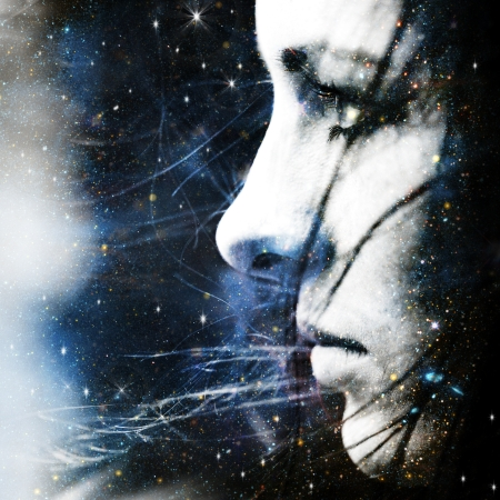 Star wind. Abstract female portrait photo