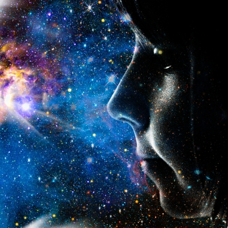 Child of the Universe. Abstract female portrait Stock Photo