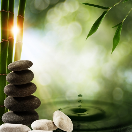 wellness environment: Abstract eco backgrounds with bamboo and water splash Stock Photo