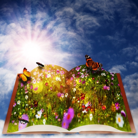open mind: Fairy tale. Abstract fantasy backgrounds with magic book