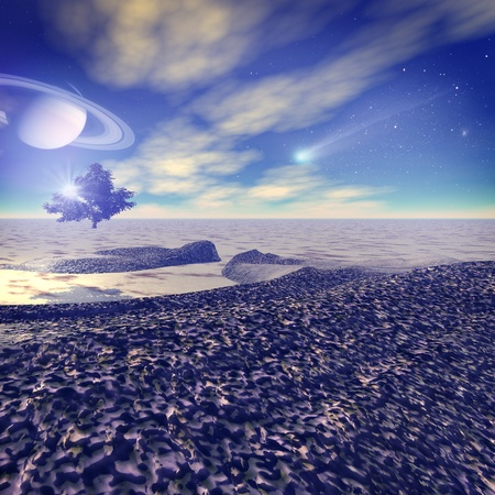 Another world. Fantastic landscape, 3D rendered image photo